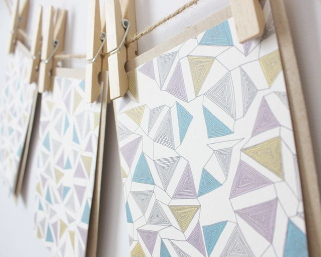 tangled triangles folded note card set by caren berry