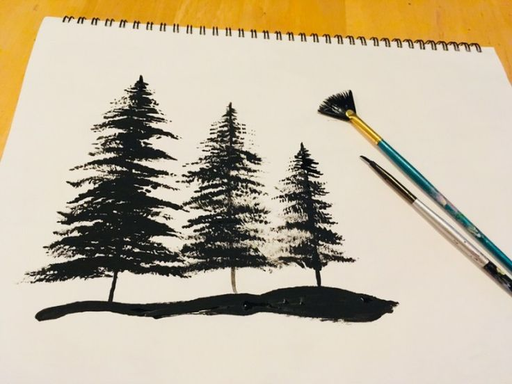 painting trees with a fan brush step by step acrylic - 736×552