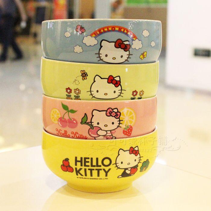 Neue heiße hallo kitty cartoon schüssel keramikschale kt koreanisch vier- Farbe geschenk-pakete(China (Mainland))