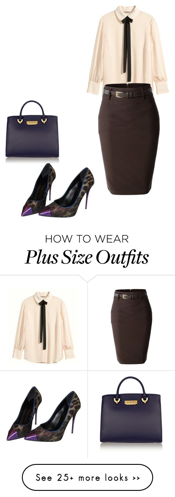 """Plus size workwear"" by chuckle78 on Polyvore featuring H&M, LE3NO, Giuseppe Zanotti and ZAC Zac Posen"