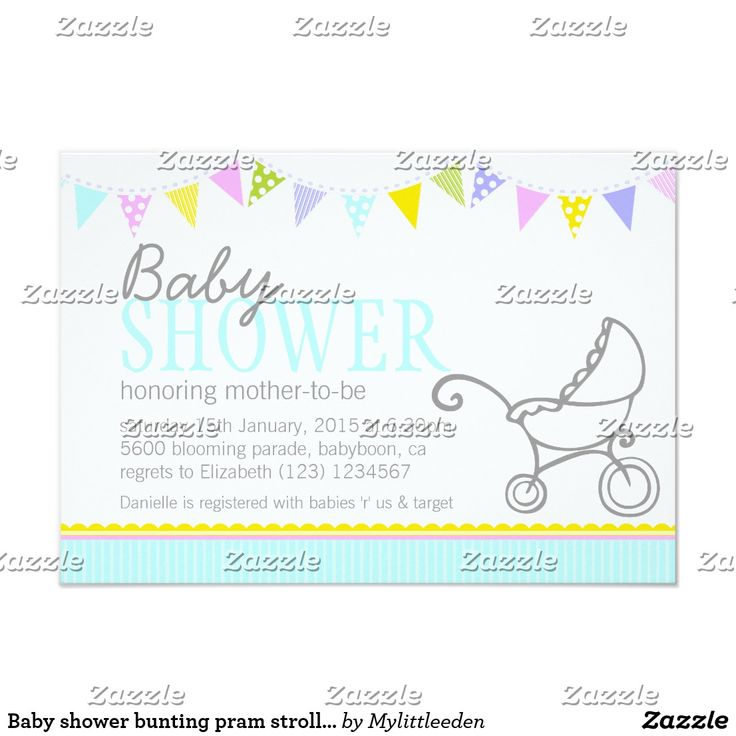 Baby shower bunting pram stroller aqua invite Cute baby shower invite, featuring simple stroller / buggy / pram design with bunting flags. Pretty neutral aqua baby shower invitation. Personalize with your baby shower details. Uniquely illustrated and designed by Sarah Trett.