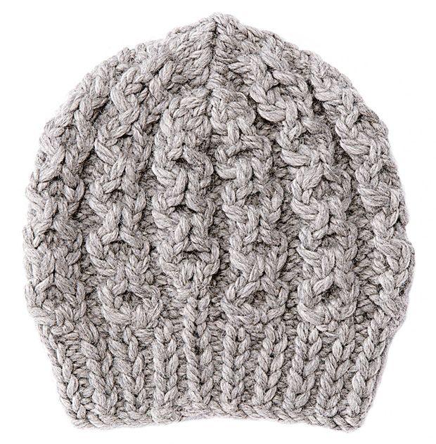 Strickmuster: Dicke Mütze mit Zopfmuster stricken - BRIGITTE