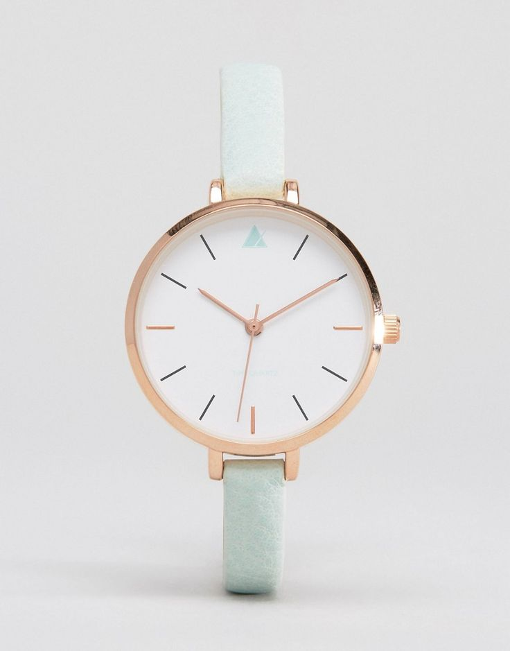 ASOS Large Face Skinny Strap Watch With Rose Gold Detail