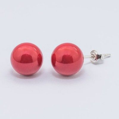 Swarovski Pearl Earrings 10mm Red Coral  Dimensions: length: 2,2cm pearl size: 10mm Weight ~ 3,30g ( 1 pair ) Metal : sterling silver ( AG-925) Stones: Swarovski Elements 5818 10mm Colour: Crystal Red Coral Pearl 1 package = 1 pair Price 9.90 PLN( about`2,5 EUR)