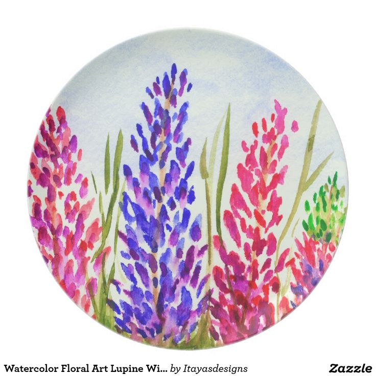Watercolor Floral Art Lupine Wildflowers Purple and Pink Flowers, Dinner Plate