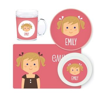 Girl Face Personalised Kids Mealtime Set $32.95 - $39.95 #sweetcreations #baby #toddlers #kids #personalised