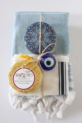 Turkish Bath Blue Stripe Peshtemal Christmas Gift Set
