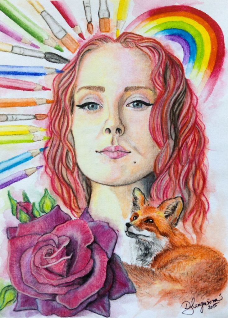 #selfportrait #watercolor #rainbow #rose #fox #pencils #2015