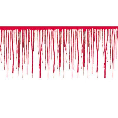 Wanddecoratie druipend bloed. Deze wanddecoratie met druipend bloed is gemaakt van dun plastic en is hierdoor geschikt voor binnen- en buitengebruik. Het formaat is ongeveer 610 cm x 30 cm. De decoratie kan door middel van nietjes of plakgummetjes worden opgehangen.
