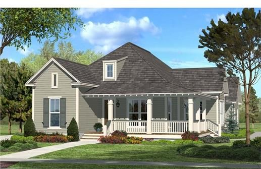 This charming 3 bedroom, 2 bath open split house plan was designed with easy living in mind. It offers two large porches, spacious bedrooms, office area, and a large open living area with views into the kitchen and dining area.