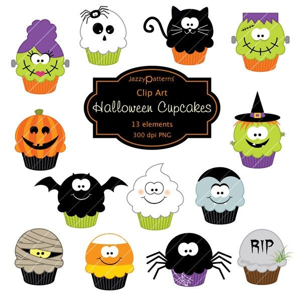 Halloween Cupcakes clip art (CA014). $5.50, via Etsy.