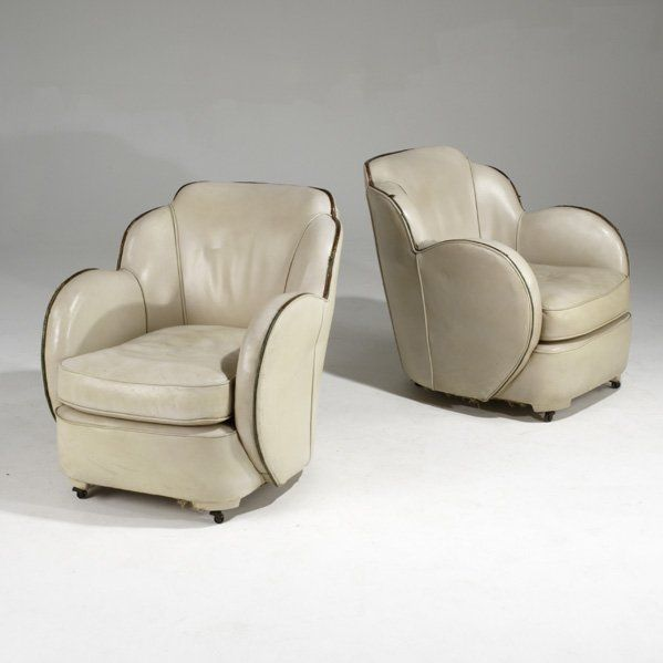 ENGLISH ART DECO; Pair of leather club chairs. @designerwallace