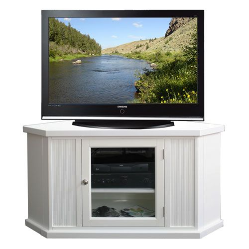 Riley Holliday White 46 Inch Corner Tv Console Leick Furniture Corner Tv Cabinets Tv Stand