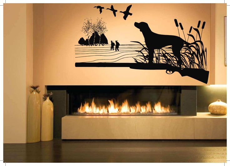 Wall Vinyl Sticker Decals Mural Room Design Pattern Art Bedroom Duck Hunting  Dog Hunter Lake Birds Part 96