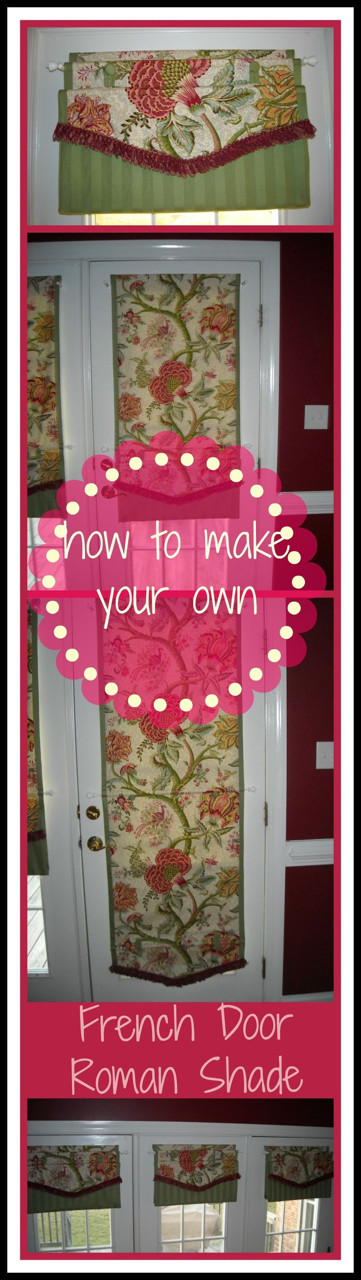 "DIY Roman Shade for French Doors - no hardware required, these babies ""button up"" .... ditch the cords and hardware!"