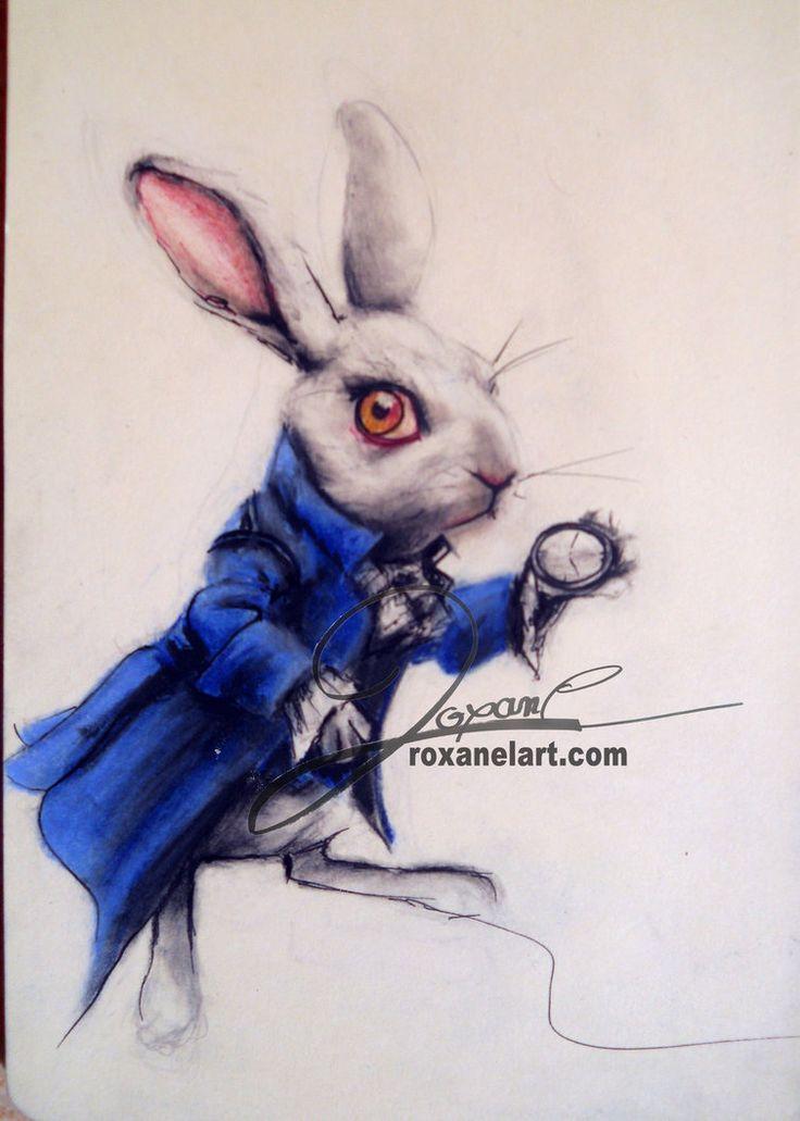 Картинка кролика из алисы в стране чудес рисунок карандашом