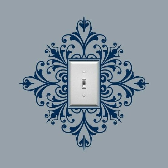 Stencil around lightswitch cover. Love it! - sublime-decor