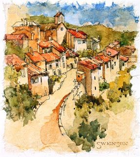 Architectural art, Pen and watercolor sketh, Tuscan village, Brenda Swenson watercolor city
