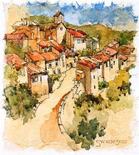 Architectural art, Pen and watercolor sketh, Tuscan village, Brenda Swenson watercolor city