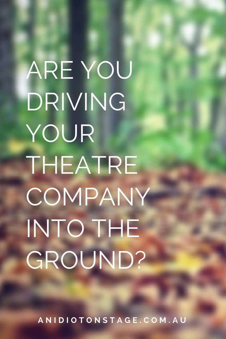 READ THIS ARTICLE by An Idiot on Stage at https://sherrylleesecomb.wordpress.com/2015/05/07/are-you-driving-your-theatre-company-into-the-ground/