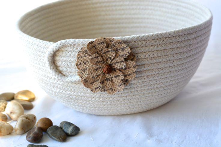 Natural Minimalist Bowl, Handmade Rope Basket, Modern Clothesline Basket, Lovely Yarn Bowl,  hand coiled natural rope basket by WexfordTreasures on Etsy