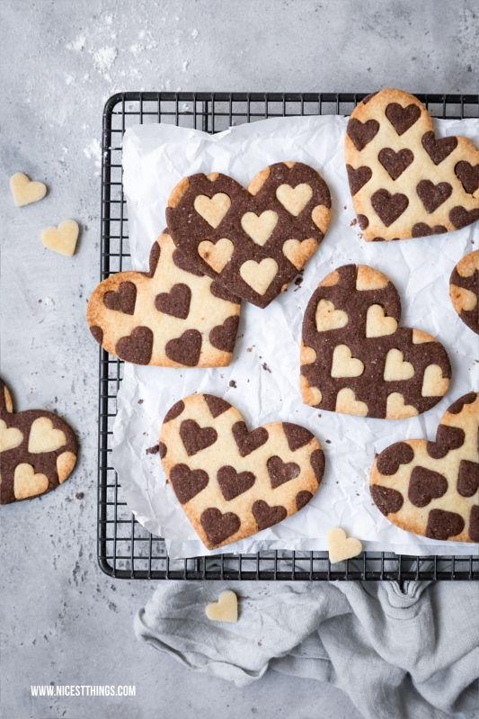 Zweifarbige Herzkekse Oder Platzchen Bicolor Heart Cookies