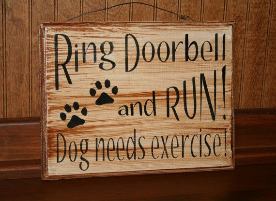 Funny Dog Sign  Wooden Front Door Sign  Ring by NaturesGlow
