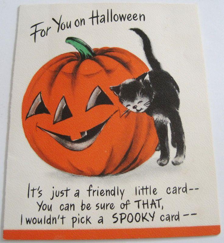 used vtg halloween card cute black cat pumpkin hallmark - Hallmark Halloween Decorations