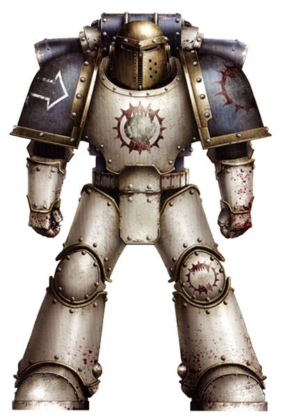 World Eaters Legionary Tactical Marine in Mark III 'Iron' Armour. Note: This particular armour is older Legion issue, with modified helm (brazen colouration denoting veteran status). Several versions of Legion symbol adorning armour denotes long service.