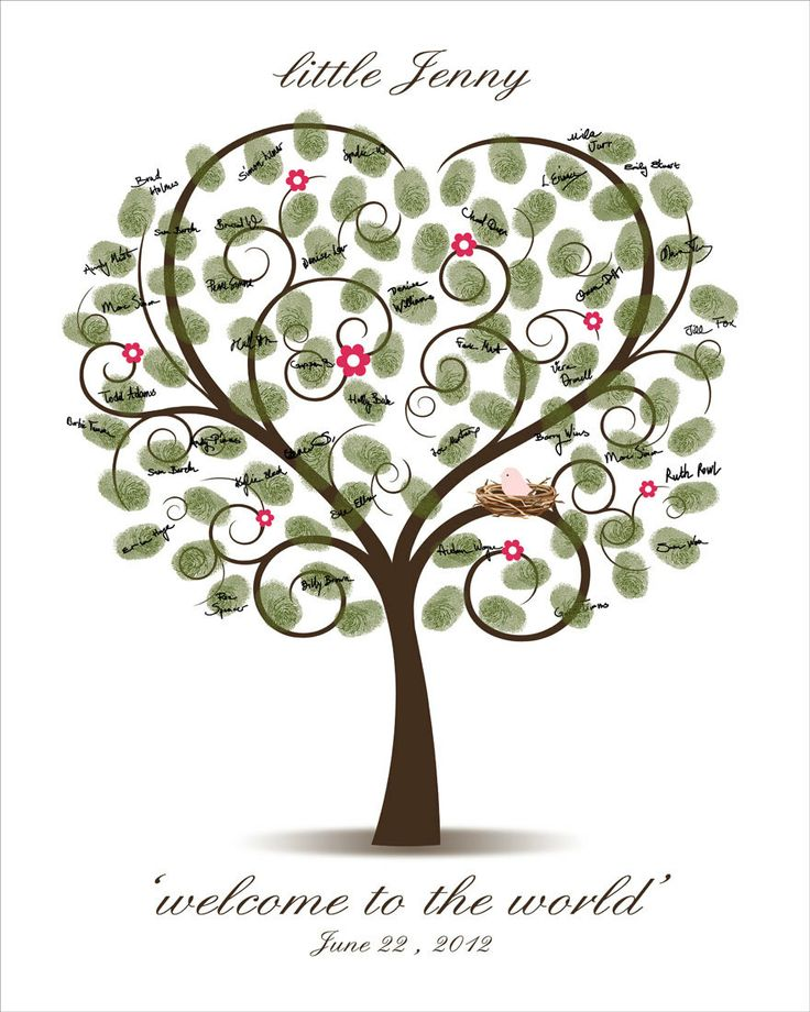 Thumbprint Tree Guest Sign: Baby Shower Fingerprint Tree Printable PDF By