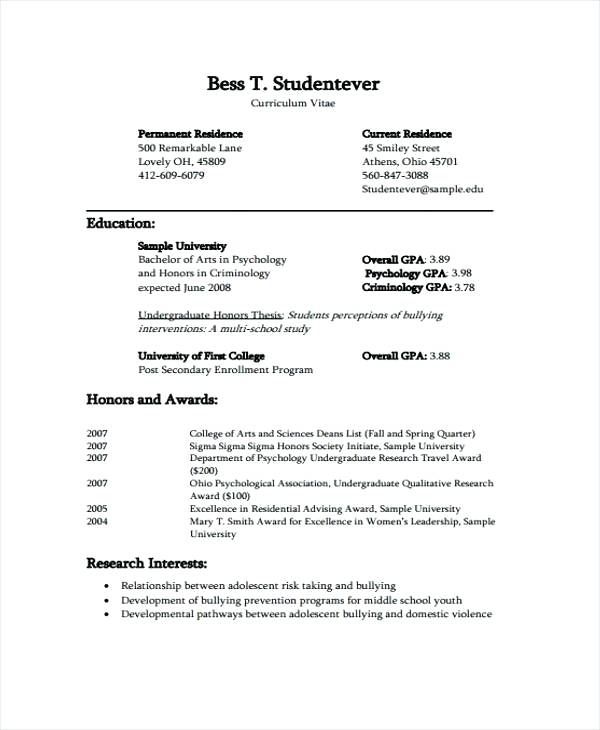 College Cv Template Student Resume Template Curriculum Vitae Cv Template