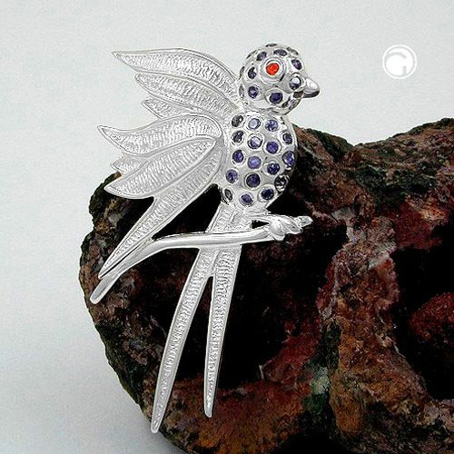 Hängsmycke Fågel glaskristaller Äkta Silver