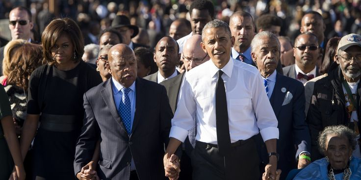 President Barack Obama and the First Family led the way across the Edmund Pettus Bridge in Selma, Alabama, on Saturday as they reenacted the iconic march that took place at the same location fifty years ago.   A large delegation marched behind in a...