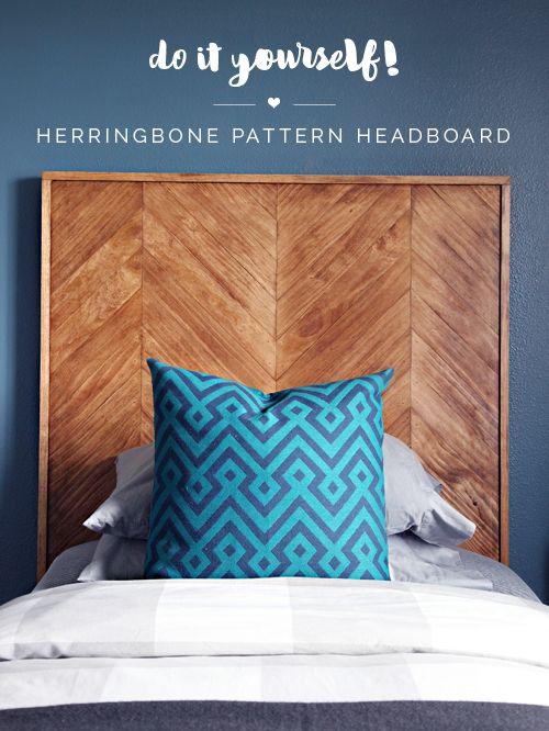 DIY Herringbone Pattern Headboard | IHeart Organizing | Bloglovin