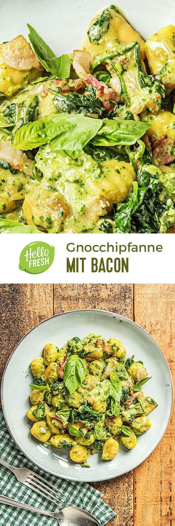 Step by Step Rezept: Herzhafte Gnocchipfanne mit Bacon,Walnuss-Frischkäse-Pesto und Babyspinat!  Gesund / Einfach / Italienisch / Mediterran / Kochen   #hellofreshde #gesund #italienisch #diy #kochen #rezept #gnocchi