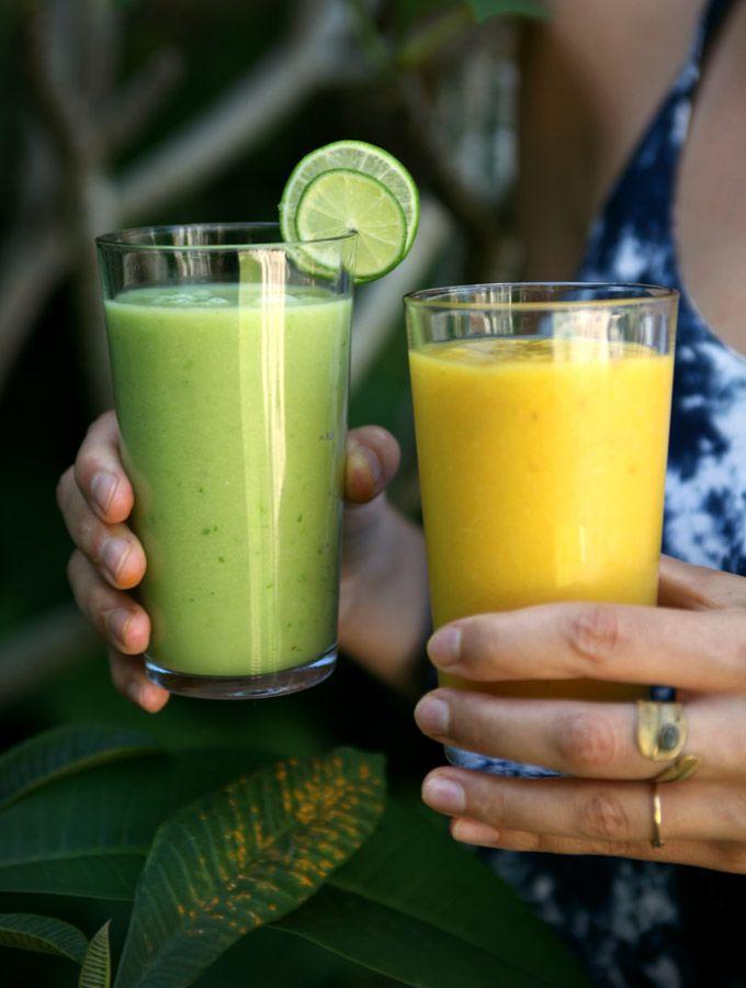 my new roots - 2 Bali inspired smoothies: mango coconut turmeric jamu giner lime avocado juice
