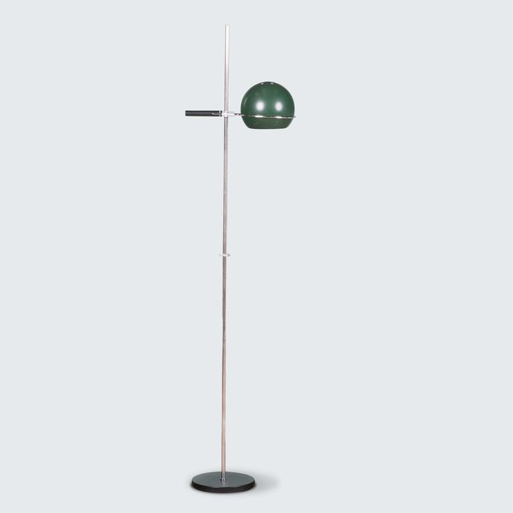 DUTCH FLOOR LAMP IN GREEN BY GEPO AMSTERDAM, 1960S line Amazing Industrial GEPO Amsterdam Floor Lamp with forest green dome lampshade, chrome stand and sturdy black base.