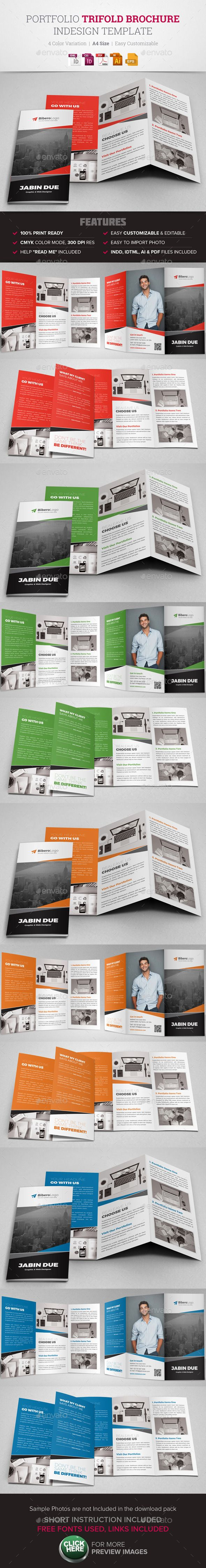 Portfolio trifold brochure indesign template design brochures and business flyer for Catalogue templates indesign