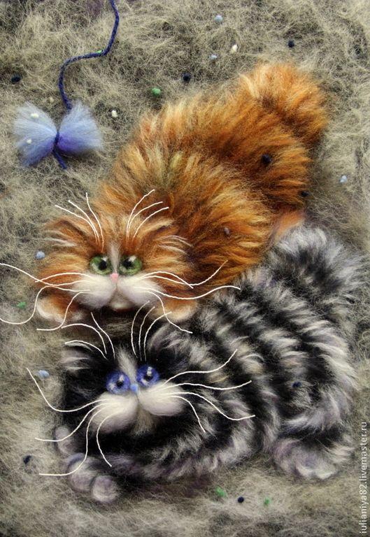 Не поймали! Картина из шерсти. - разноцветный,малышам,коты,котята,ким хаскинс