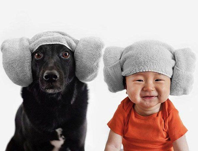 Мама десятимесячного малыша и страстная собачница Грейс Чон (Grace Chon) снимает портреты младших членов семьи в одинаковых шапках