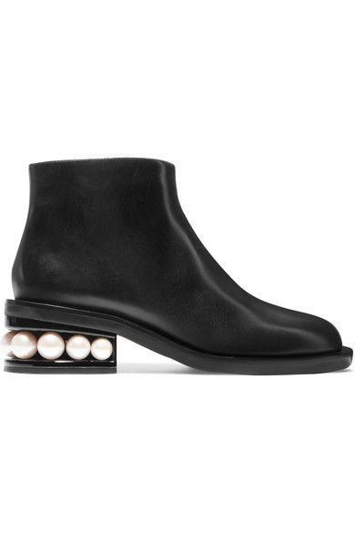 Nicholas Kirkwood - Casati Faux Pearl-embellished Leather Boots - Black - IT38.5