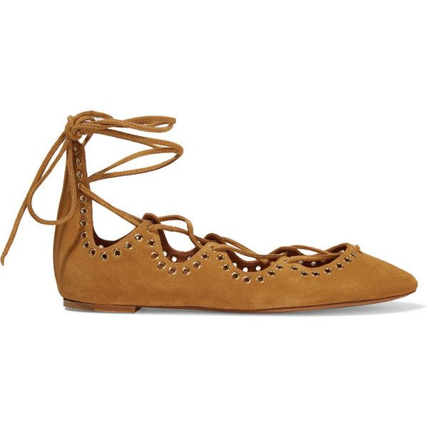 Isabel Marant Leo lace-up embellished suede ballet flats ($420) ❤ liked on Polyvore featuring shoes, flats, sapatos, brown, flat pumps, ballet pumps, flat shoes, embellished ballet flats and brown flat shoes