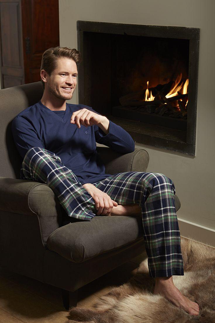 Pastunette for Men dark blue pyjama set with warm blue & green checked flannel pants