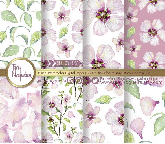 Floral Watercolor Shabby Chic, Vintage, Digital Paper, Flowers, Pink, peach, Yellow, blog backgrounds