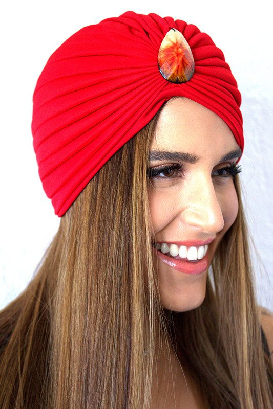 Red turban with orange ombre adornmentfashion turban by VibeJewels, $35.00