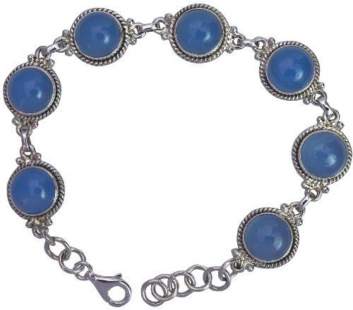 Blue Chalcedony Bracelet - Sterling Silver Exotic India. $70.00. 7.7 inch Length. 17.3 gms
