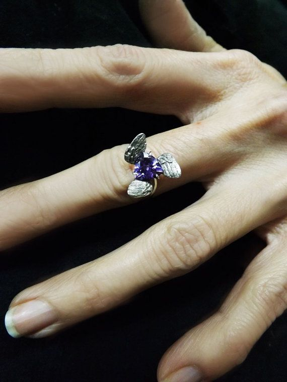 Angel Engagement Ring Triangle Twisted by BonTonContemporary