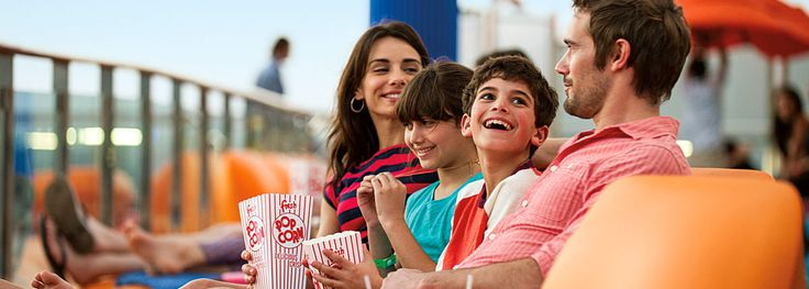 Ready to see stars? Park yourself in front of the big screen — the really big screen — and settle in for a night at the #cinema… under some real stars. From the comfort of your poolside lounge chair, or even the #pool itself, you'll enjoy the most recent blockbuster movies. Carnival Cruise Lines