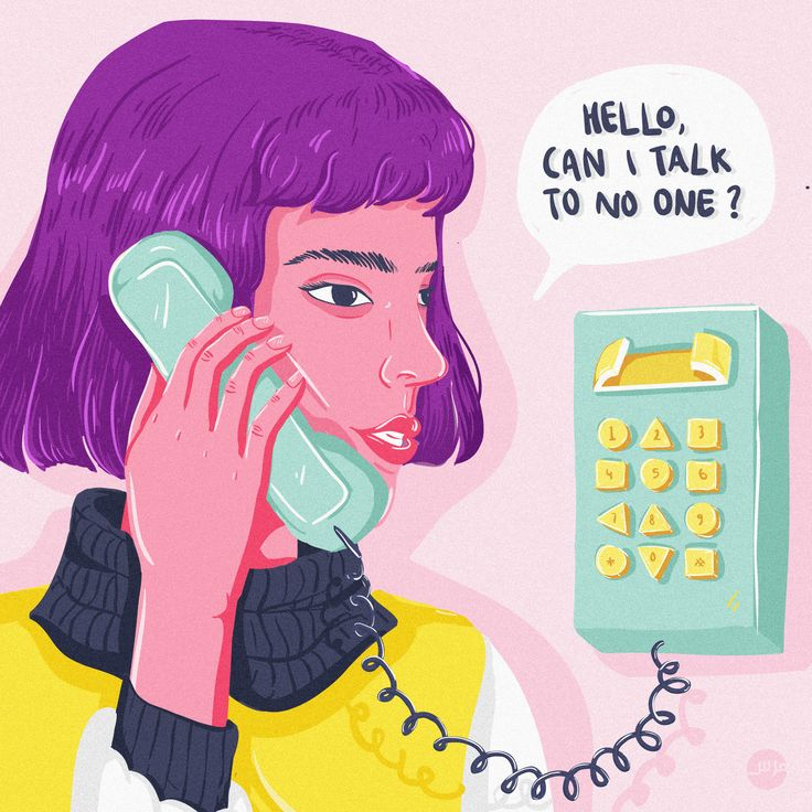 """Hello, Can I Talk to No One"" Illustration #illustratedladies #pink #poster #design"