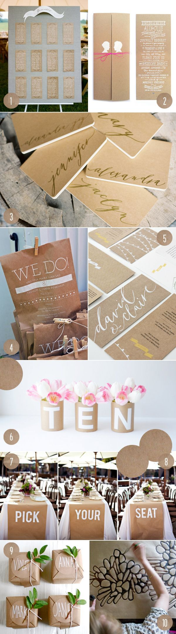 10 kraft paper projects - love the painted runner and the idea for people to pick their own seat at the reception